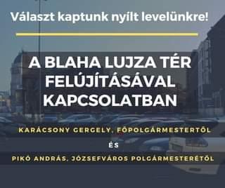 Karácsony Gergely főpolgármestertől és  Pikó András polgármestertől választ kapt